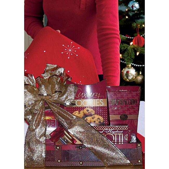 Cherry Wood Christmas Trunk Gift Basket