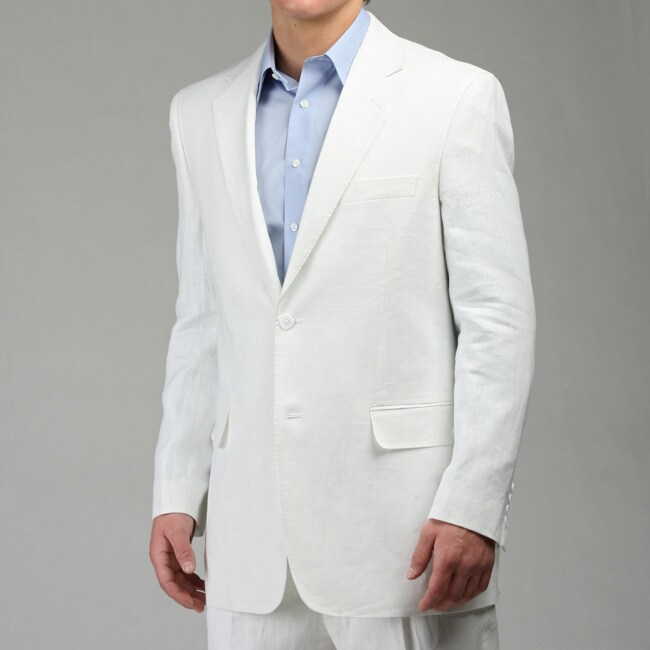 Adolfo Men's 2-piece White Linen Suit
