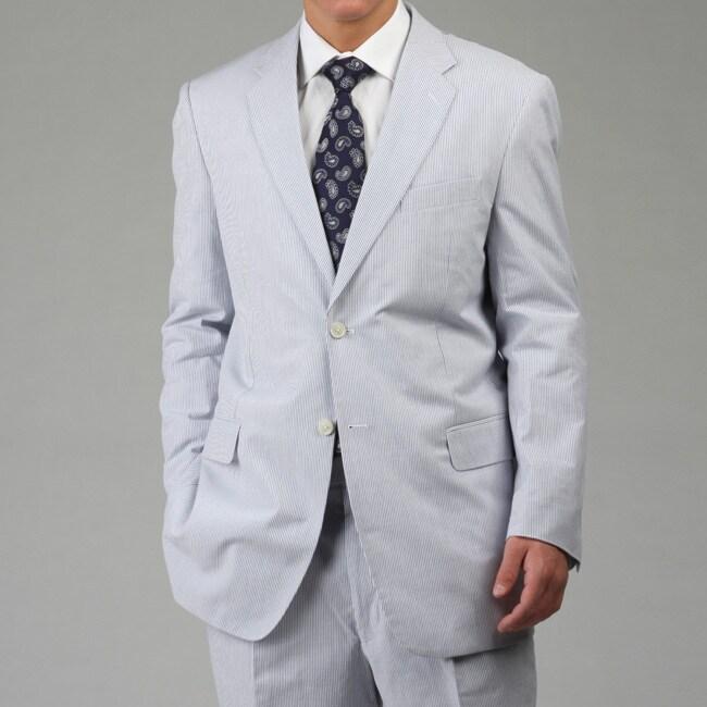 Adolfo Men's Blue Seersucker Suit - Free Shipping Today ...