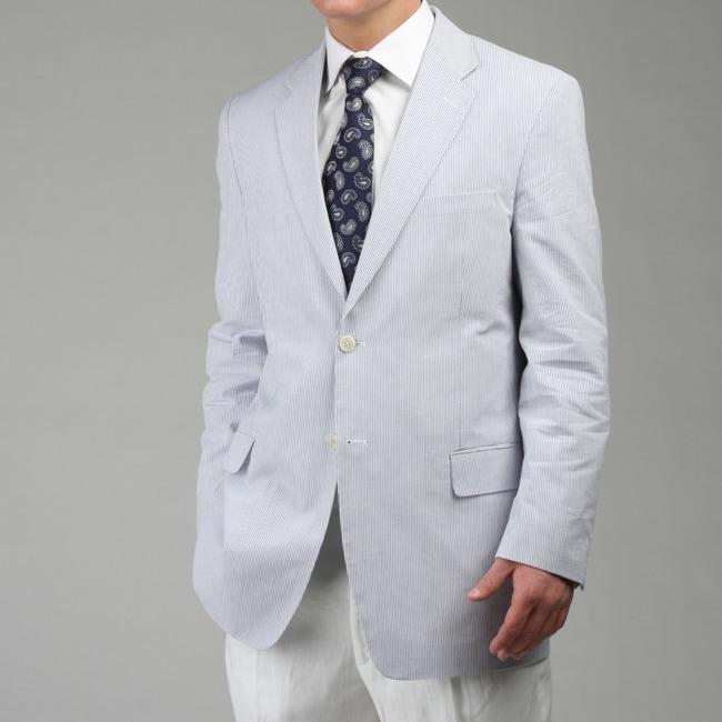 Adolfo Men's Blue Seersucker Sportcoat