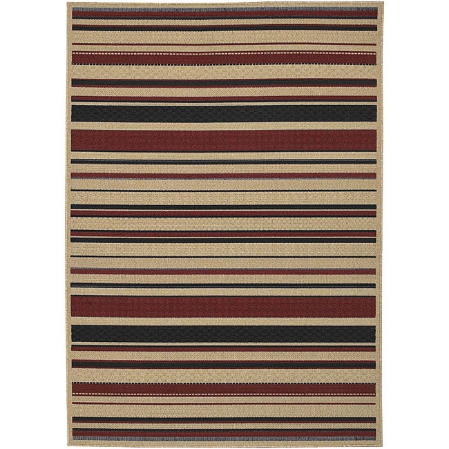 Cafe Beige Stripe Rug (3'6 x 5'6)