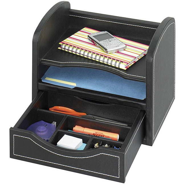 Safco faux leather desk organizer free shipping on - Faux leather desk organizer ...