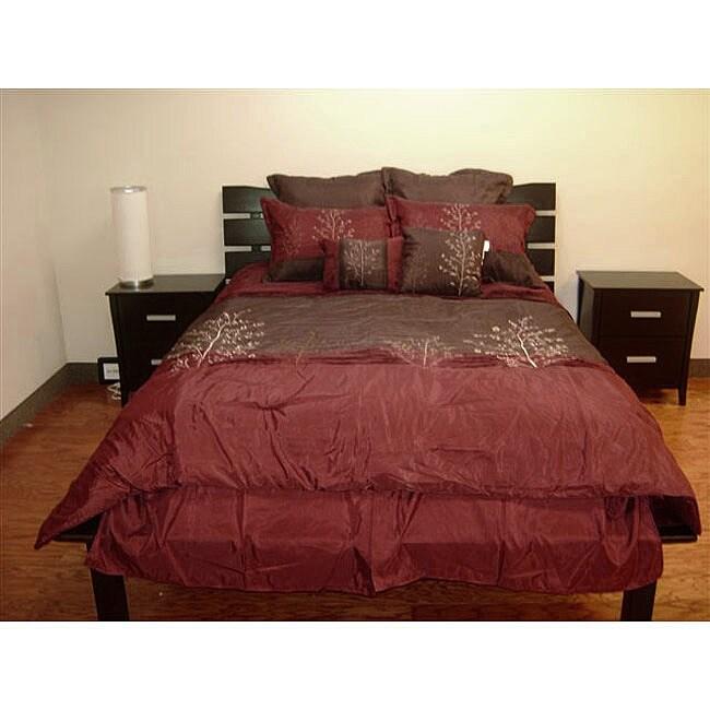Harmony Chocolate/ Burgundy 8-piece Comforter Set