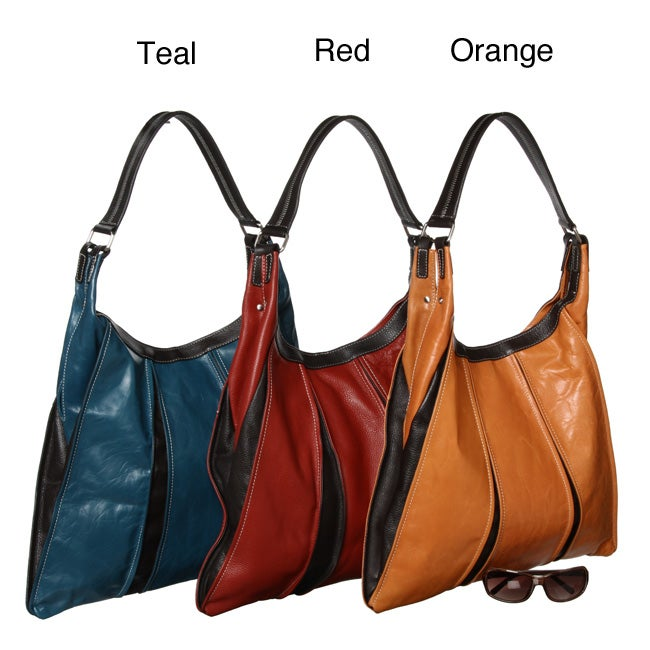 Sophia Visconti Trendy Leather Pleated Hobo Bag - Free Shipping ...