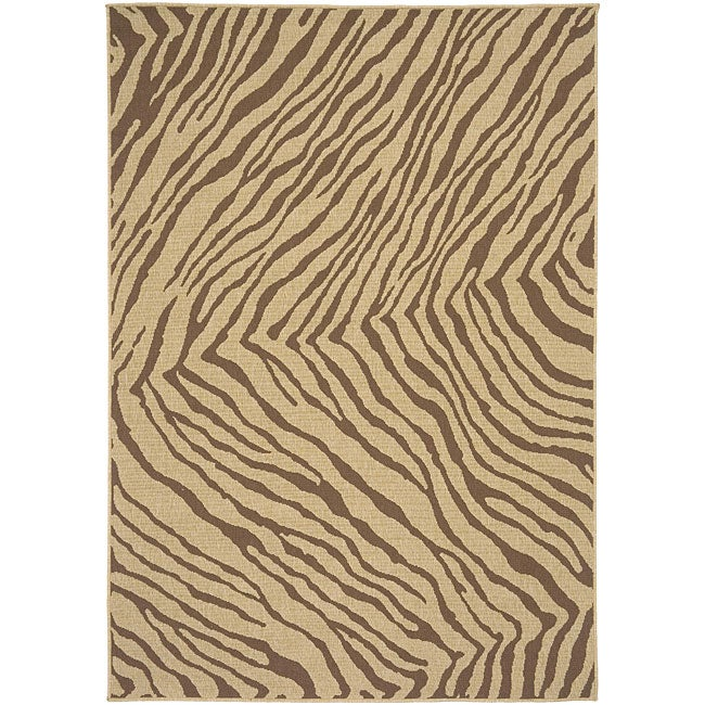 Shop Cafe Zebra Print Indoor Outdoor Rug 7 3 Square