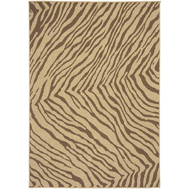 Cafe Zebra Print Indoor/Outdoor Rug (7'3 Square)