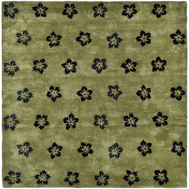 Safavieh Handmade Soho Leaves Sage New Zealand Wool Rug - 8' x 8' Square