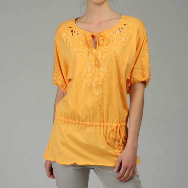 RXB Women's Embroidered Drop-waist Top