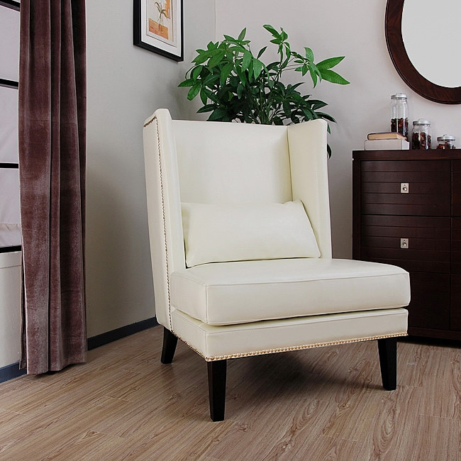 Malia Cool White Leather Wingback Chair