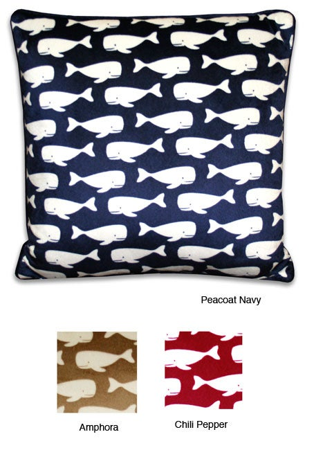 Wally Whale Coastal Microluxe 18-inch Pillow