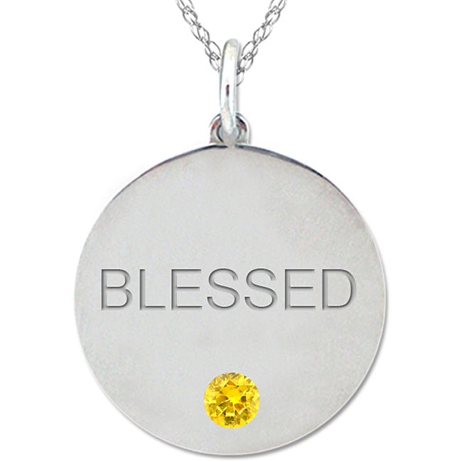 10k Gold November Birthstone Citrine Engraved 'BLESSED' Necklace