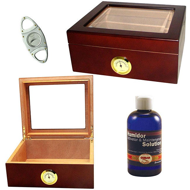 Glass-top Humidor Set