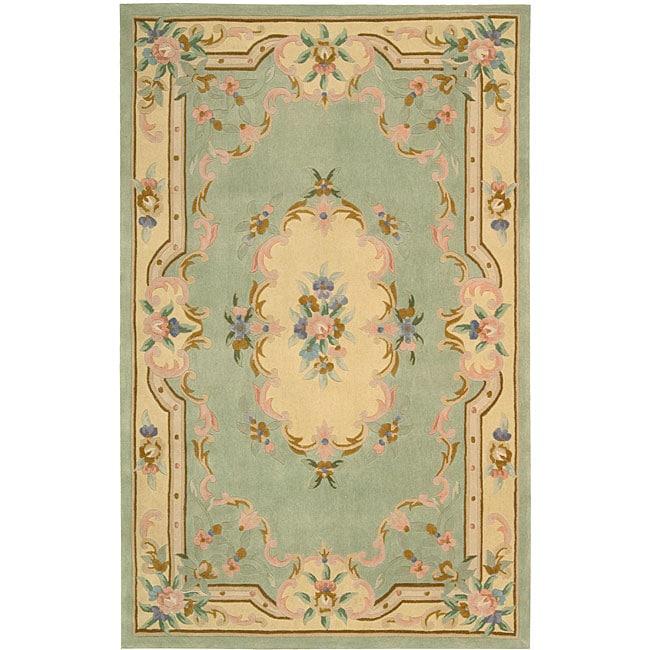Nourison Hand-tufted Sage Floral Wool Rug (7'3 x 9'3)