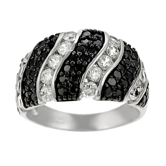 Journee Sterling Silver Black and Clear CZ Dome Ring