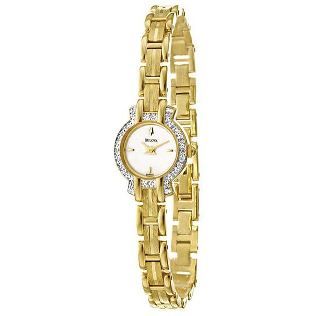 Bulova Mother of Pearl Dial Goldplated Steel Diamond Watch