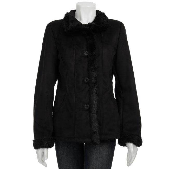 Liz Claiborne Women's Faux Suede and Mink Trim Coat