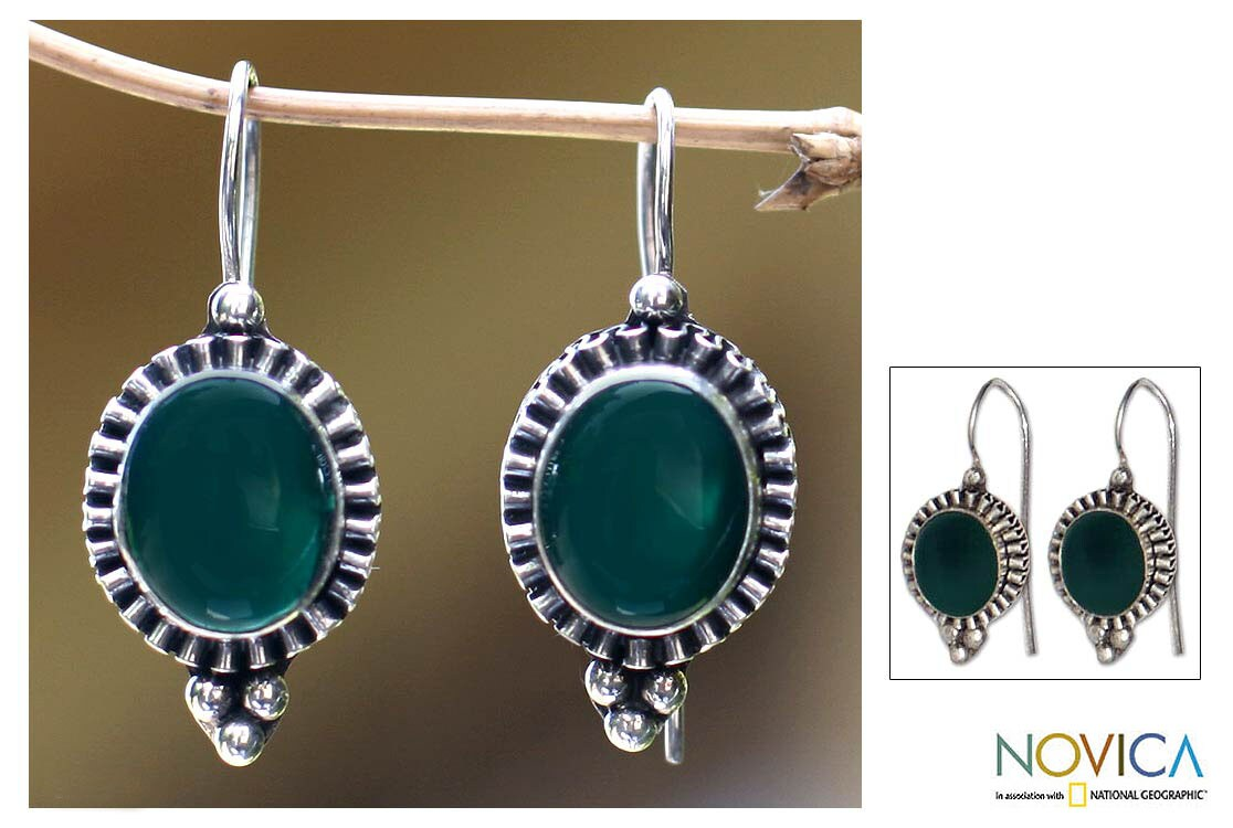 Sterling Silver 'Green Tara' Agate Earrings (Indonesia)