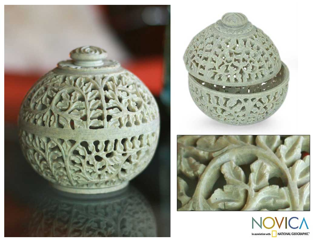 Handmade Soapstone 'Jasmine Rose' Jar (India)