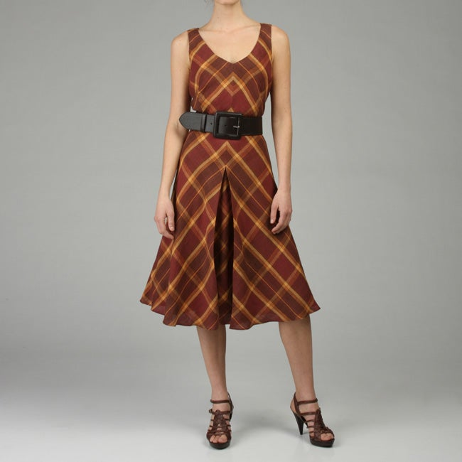 Lafayette 148 Womens Summer Madras Dreanna Dress