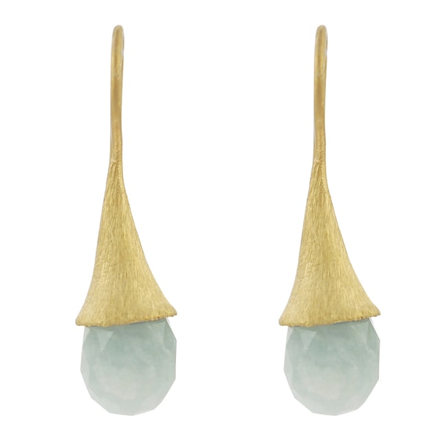 Journee Goldtone-plated Sterling Silver Chalcedony Earrings - Thumbnail 0
