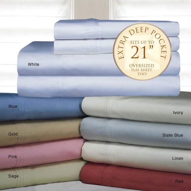 Pima Cotton 700 Thread Count Deep Fitted Sheet Set