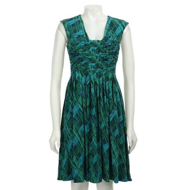 Calvin Klein Womens V neck Ruche Front Printed Dress