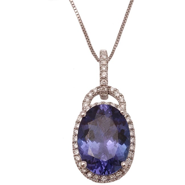 D'Yach 14k White Gold Tanzanite and 1/4ct TDW Diamond Necklace (G-H, SI)