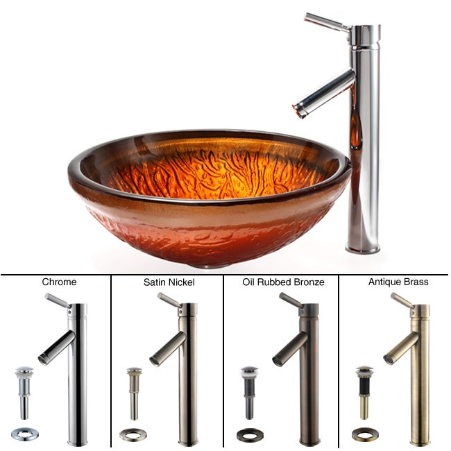 Kraus Copper Glass Vessel Sink and Sheven Faucet