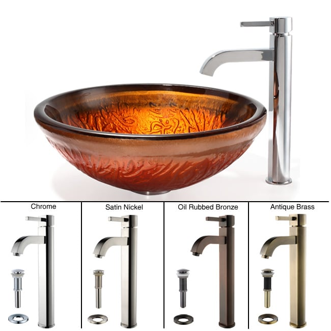 Kraus Copper Glass Vessel Sink and Ramus Faucet