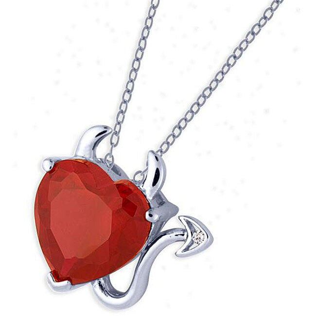 Simon Frank White Rhodium Overlay Red CZ Devil Heart Necklace