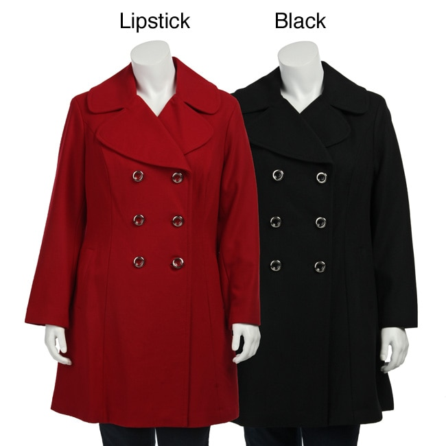9e0d32abcd5 Shop Jessica Simpson Women s Plus Size Double-breasted Fit and Flare Coat -  Free Shipping Today - Overstock - 4564856