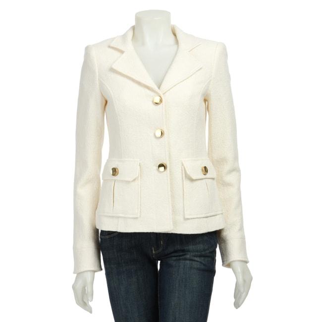 Women's Button-front Winter White Blazer