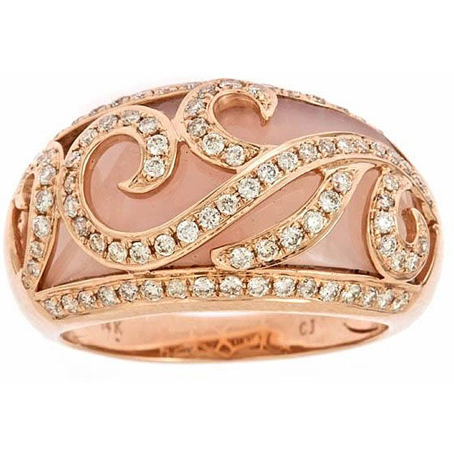 D'Yach 10k Rose Gold Pink Opal and 1/2ct TDW Diamond Ring (G-H, IJ) (Size 7)