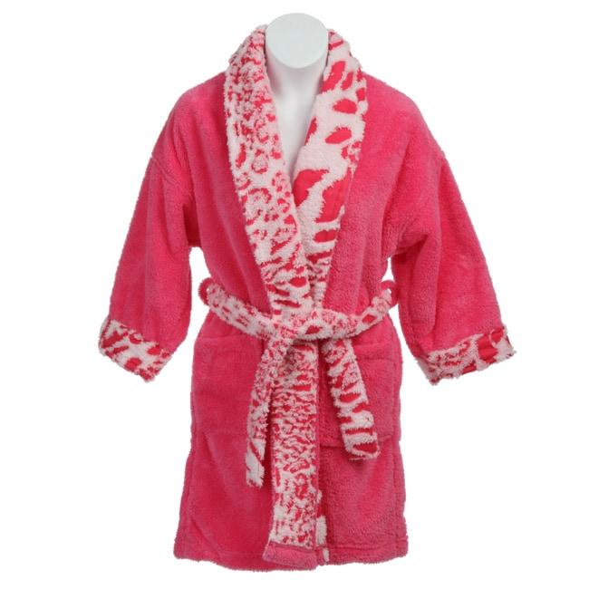 Shop Aegean Girl s Leopard Trim Plush Bathrobe - Pink - Free Shipping On  Orders Over  45 - Overstock.com - 4571537 70ce2b81f