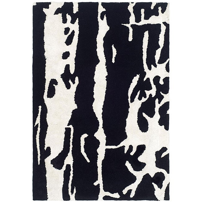 Safavieh Handmade Soho Modern Abstract Black/ White Wool Rug (2' x 3') - Thumbnail 0