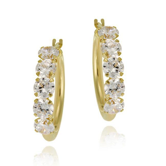Icz Stonez 10k Yellow Gold Cubic Zirconia 20mm Hoop Earrings