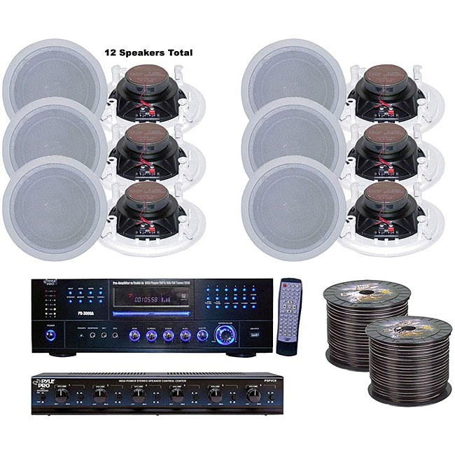 Pyle 6-room Home In-ceiling Speakers and Amp System - Free ...
