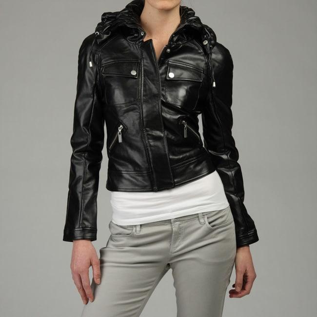 Blanc Noir Women's Motorcycle Florette Collar Jacket