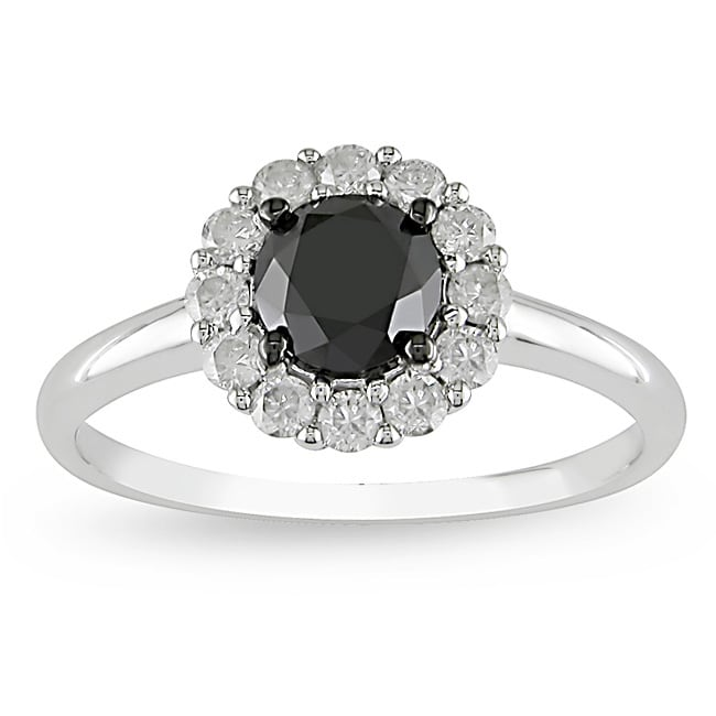 14k Gold 1 3/8ct TDW Black and White Diamond Ring