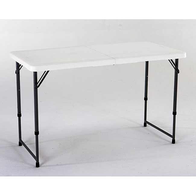 Lifetime 4 Foot Adjustable Height Fold In Half Table