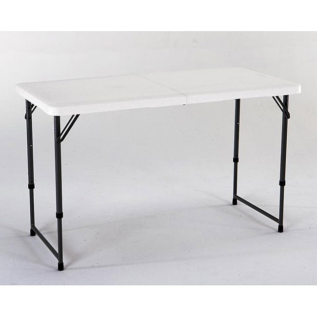lifetime 4-foot adjustable height fold-in-half table - free shipping