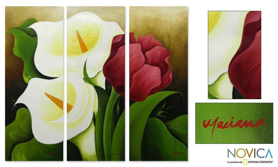 Handmade Calla Lilies and Tulip Multicolor Triptych Floral Original Art (Mexico)