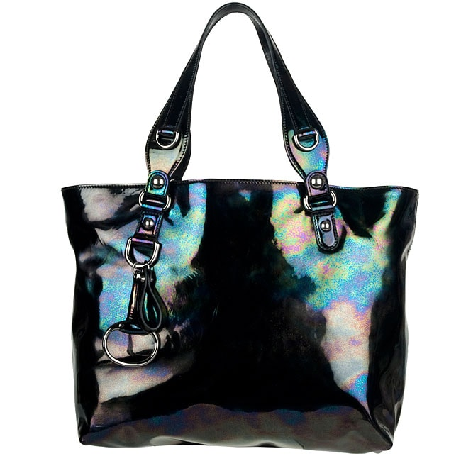 Gucci Icon Bit Black Iridescent Patent Leather Medium Tote