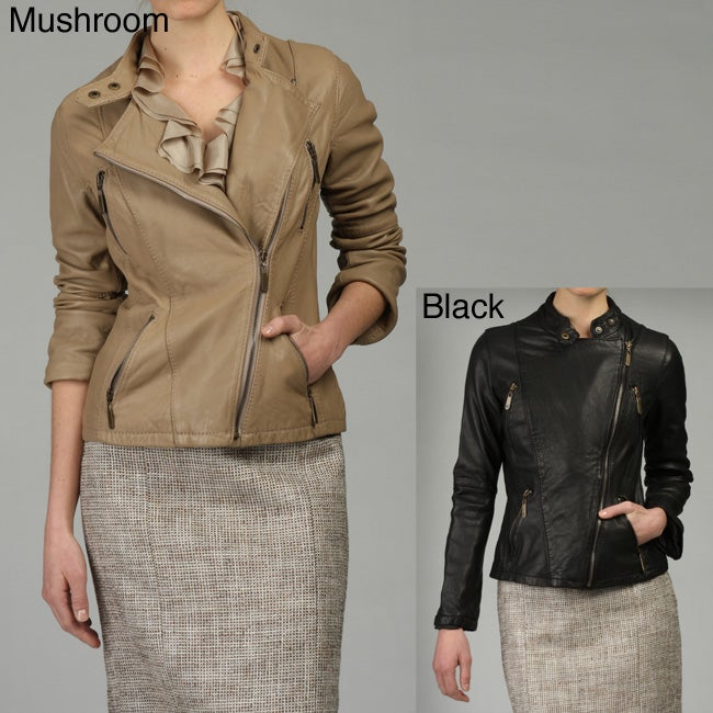 f1b139725b6f Shop MICHAEL Michael Kors Women s Leather Motorcycle Jacket - Free Shipping  Today - Overstock - 4583285