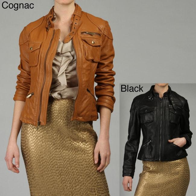 MICHAEL Michael Kors Women's Leather Zip Front Motocross Jacket
