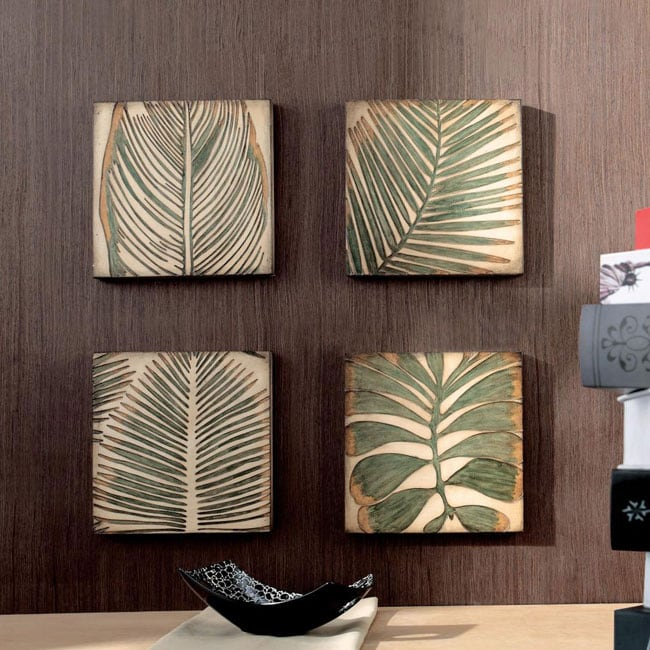 Wood Palm Leaf Square Wall Art Set Of 4 Free Shipping