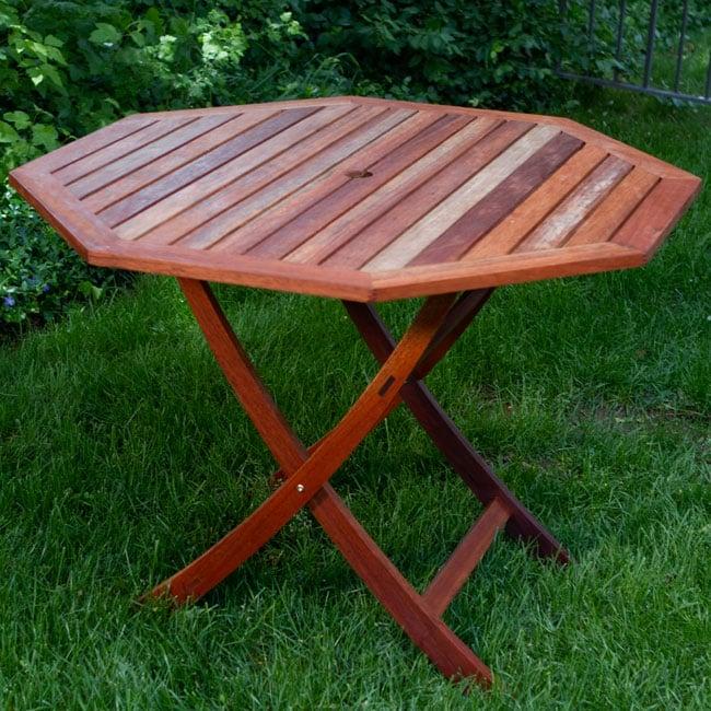 Eucalyptus Wood 40-inch Octagon Folding Table