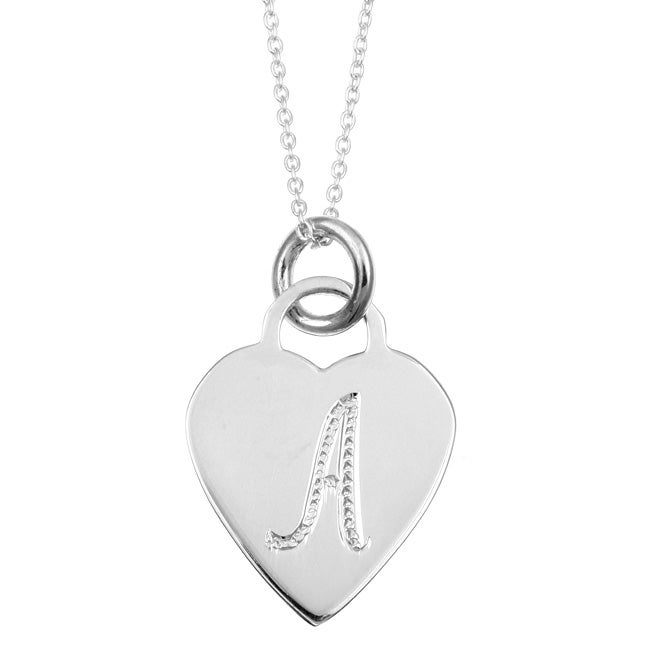 Sterling Silver Letter 'A' Heart Disc Necklace