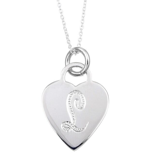 af8784047e1ef Sterling Essentials Sterling Silver Letter 'L' Heart Disc Necklace