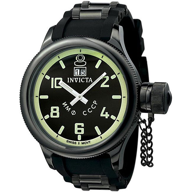 Invicta Men's Russian Diver QTZ Black Rubber Strap Watch